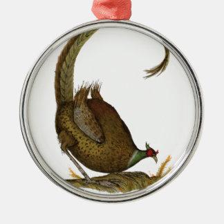 pheasant wild bird, tony fernandes Silver-Colored round decoration