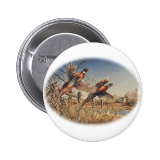 Pheasants Aloft - Great Hunting on the farm Pinback Button