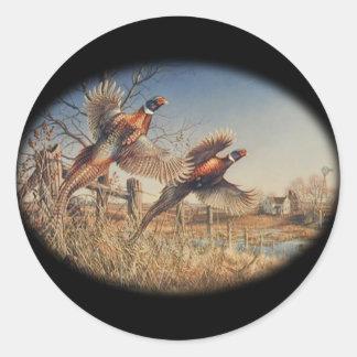Pheasants Aloft - Great Hunting on the farm Classic Round Sticker