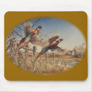 Pheasants Aloft - Great Hunting on the farm Mouse Mat