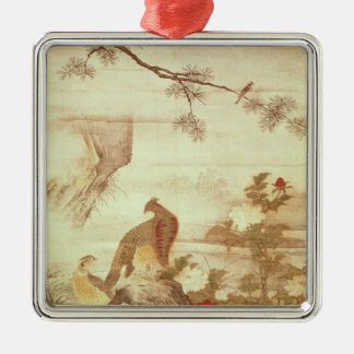 Pheasants and peonies, from a series of scrolls christmas ornament