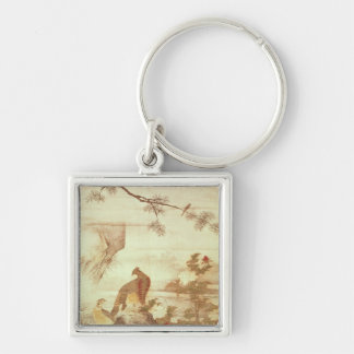 Pheasants and peonies, from a series of scrolls Silver-Colored square key ring