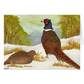 Pheasants in Snow Greetings Card