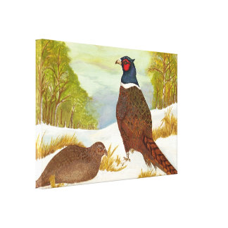 Pheasants in Snow Painting Canvas Print