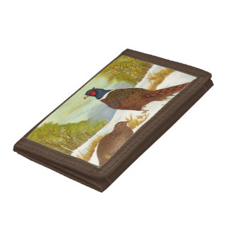Pheasants in Snow Painting Wallet