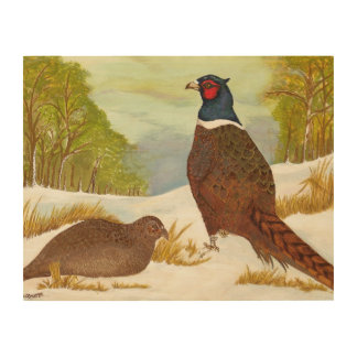 Pheasants in Snow Wood Wall Art Wood Canvas