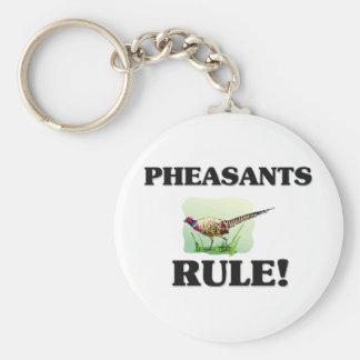 PHEASANTS Rule! Basic Round Button Key Ring
