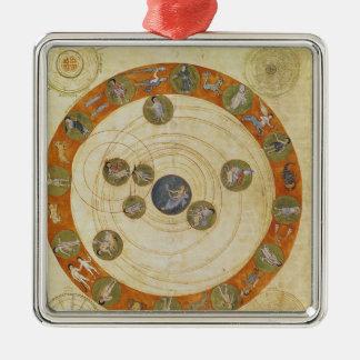 Phenomena of Aratus, cosmological diagram Silver-Colored Square Decoration