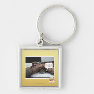 Phew I think I lost him Silver-Colored Square Key Ring