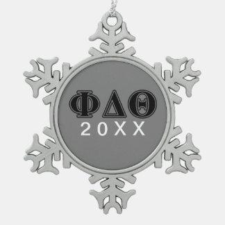Phi Delta Theta Black Letters Snowflake Pewter Christmas Ornament