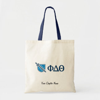 Phi Delta Theta - Blue Greek Lettters and Logo Budget Tote Bag