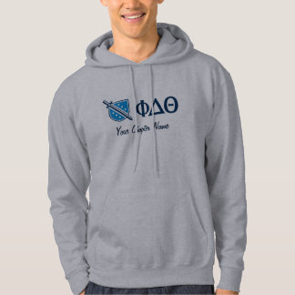 Phi Delta Theta - Blue Greek Lettters and Logo Hoodie