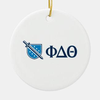 Phi Delta Theta - Blue Greek Lettters and Logo Round Ceramic Decoration