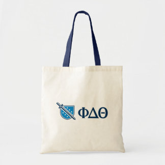 Phi Delta Theta - Blue Greek Lettters and Logo Tote Bag