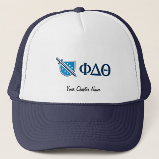 Phi Delta Theta - Blue Greek Lettters and Logo Trucker Hat
