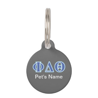 Phi Delta Theta Royal Blue and Baby Blue Letters Pet Name Tag