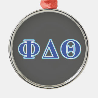 Phi Delta Theta Royal Blue and Baby Blue Letters Silver-Colored Round Decoration