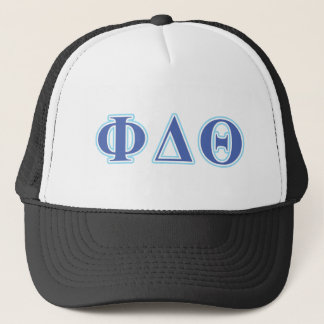 Phi Delta Theta Royal Blue and Baby Blue Letters Trucker Hat