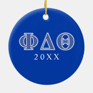 Phi Delta Theta Royal Blue Letters Round Ceramic Decoration
