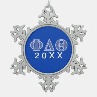 Phi Delta Theta Royal Blue Letters Snowflake Pewter Christmas Ornament