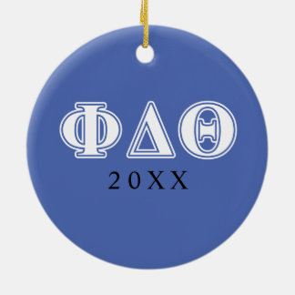 Phi Delta Theta White and Royal Blue Letters Christmas Ornament