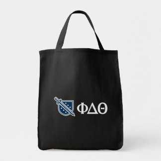 Phi Delta Theta - White Greek Lettters and Logo 3 Grocery Tote Bag