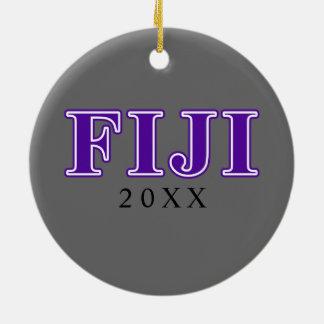 Phi Gamma Delta Purple Letters Round Ceramic Decoration