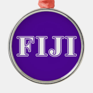 Phi Gamma Delta Whie and Purple Letters Christmas Ornament