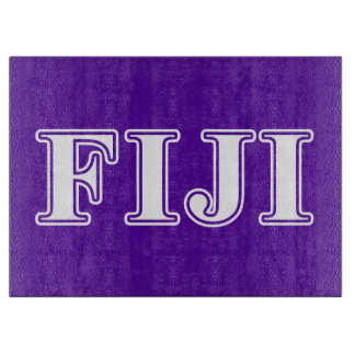 Phi Gamma Delta Whie and Purple Letters Cutting Board