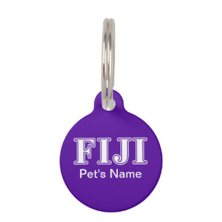 Phi Gamma Delta Whie and Purple Letters Pet Tag