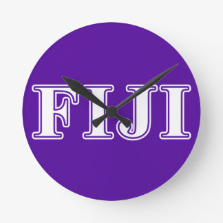 Phi Gamma Delta Whie and Purple Letters Round Clock
