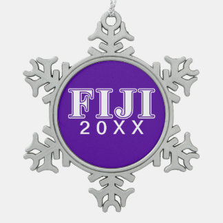 Phi Gamma Delta Whie and Purple Letters Snowflake Pewter Christmas Ornament