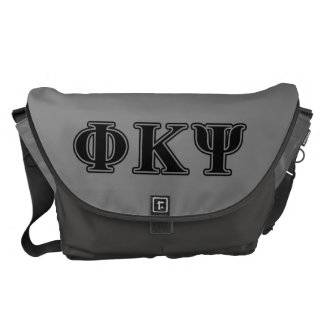 Phi Kappa Psi Black Letters Courier Bags
