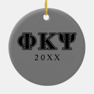 Phi Kappa Psi Black Letters Round Ceramic Decoration