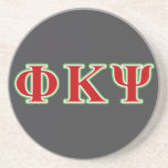 Phi Kappa Psi Red and Green Letters Drink Coasters