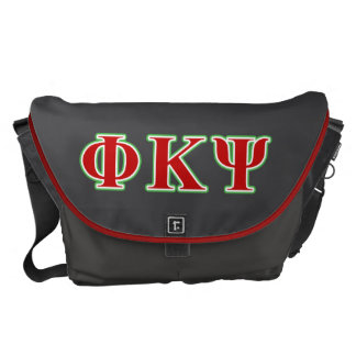 Phi Kappa Psi Red and Green Letters Messenger Bag