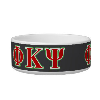 Phi Kappa Psi Red and Green Letters Pet Water Bowls