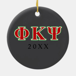 Phi Kappa Psi Red and Green Letters Round Ceramic Decoration