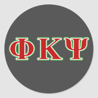 Phi Kappa Psi Red and Green Letters Round Sticker