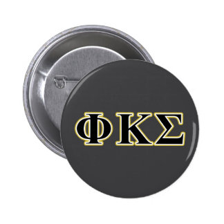 Phi Kappa Sigma Black and Gold Letters 6 Cm Round Badge