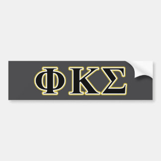 Phi Kappa Sigma Black and Gold Letters Bumper Sticker
