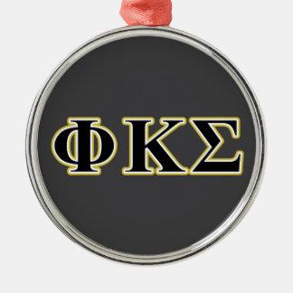 Phi Kappa Sigma Black and Gold Letters Christmas Ornament