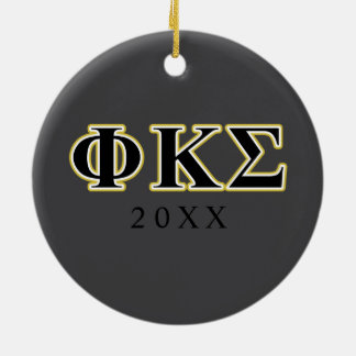 Phi Kappa Sigma Black and Gold Letters Christmas Ornament