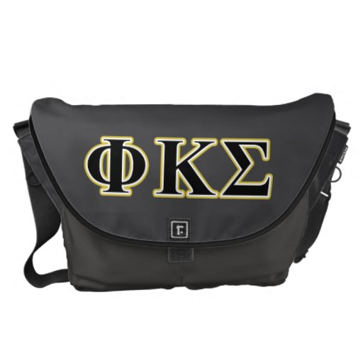 Phi Kappa Sigma Black and Gold Letters Courier Bags