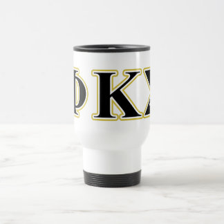 Phi Kappa Sigma Black and Gold Letters Travel Mug