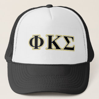 Phi Kappa Sigma Black and Gold Letters Trucker Hat