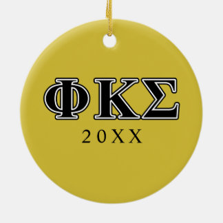 Phi Kappa Sigma Black Letters Christmas Ornament