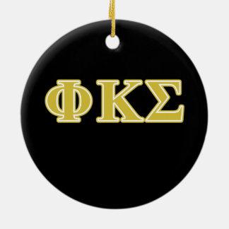 Phi Kappa Sigma Gold Letters Round Ceramic Decoration