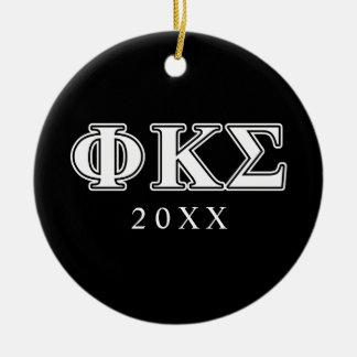 Phi Kappa Sigma White and Black Letters Christmas Ornament