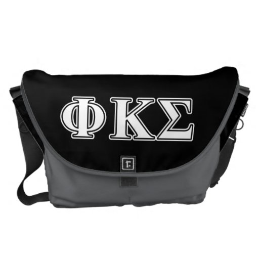 Phi Kappa Sigma White and Black Letters Messenger Bags